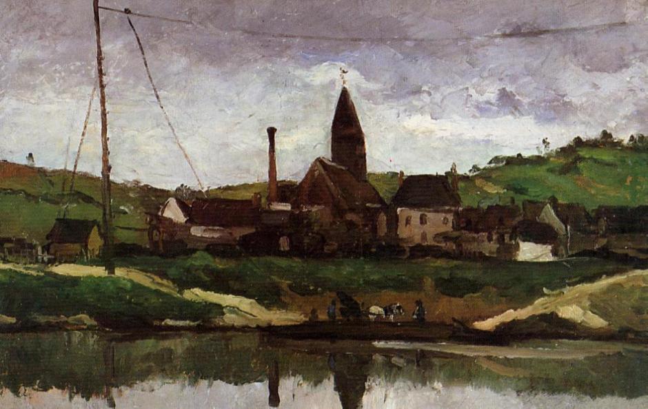 Paul Cézanne, Le bac à Bonnières (1866), Rewald no. 96, oil on canvas, 38 x 61 cm. Musée Faure, Aix-les-Bains (WikiArt).