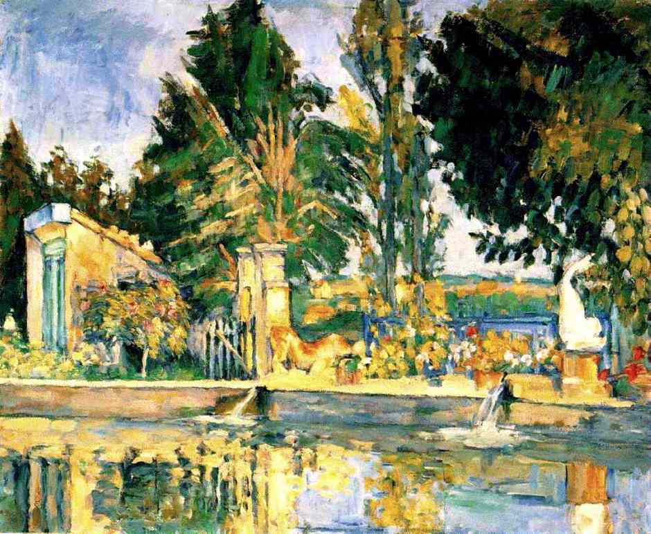 Paul Cézanne, Le bassin du Jas de Bouffan (1876), Rewald no. 278, oil on canvas, 49 x 55 cm. Dr. Otto Krebs, Weimar, Germany (presently at The State Hermitage Museum, St. Petersburg) (WikiArt).