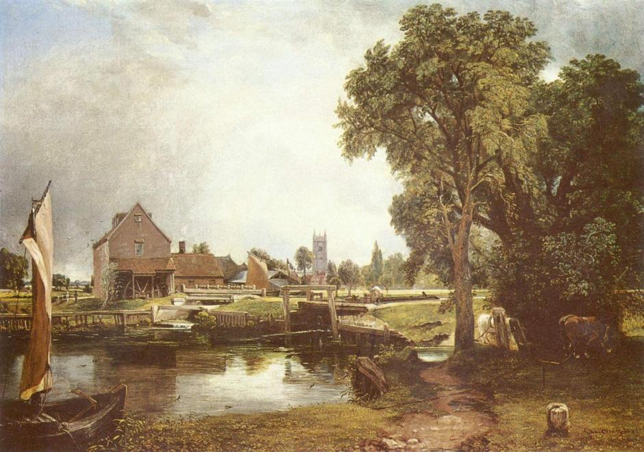 "John Constable, ""Dedham Lock and Mill"", 1820, oil on canvas, 53.7 x 76.2 cm, Victoria and Albert Museum, London. WikiArt."