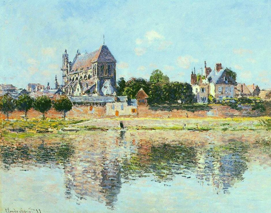Claude Monet, 1883, View of the Church at Vernon, oil on canvas, 65 x 81 cm, Yamagata Museum of Art, Japan. (WikiArt)