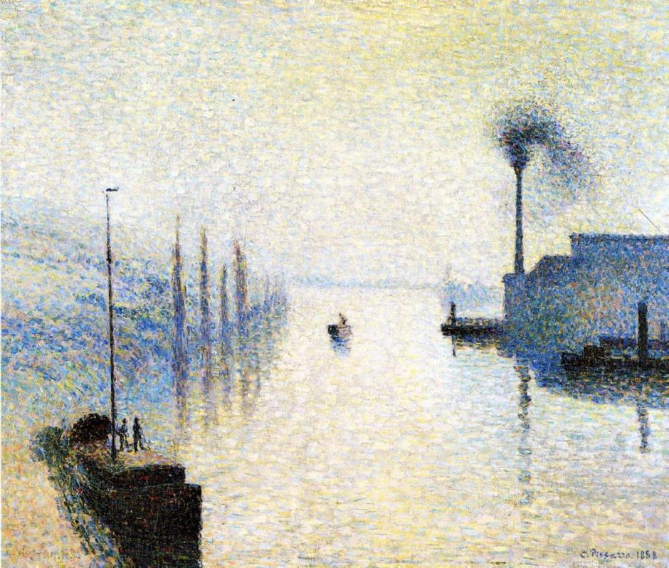 Camille Pissarro, Île Lacruix Rouen, Effect of Fog, 1888, oil on canvas, 44 x 55 cm, private collection. (WikiArt)