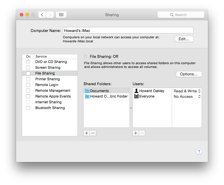 The Sharing pane in System Preferences is the minimal interface to Bonjour, showing your Mac's current .local name, and services it offers.
