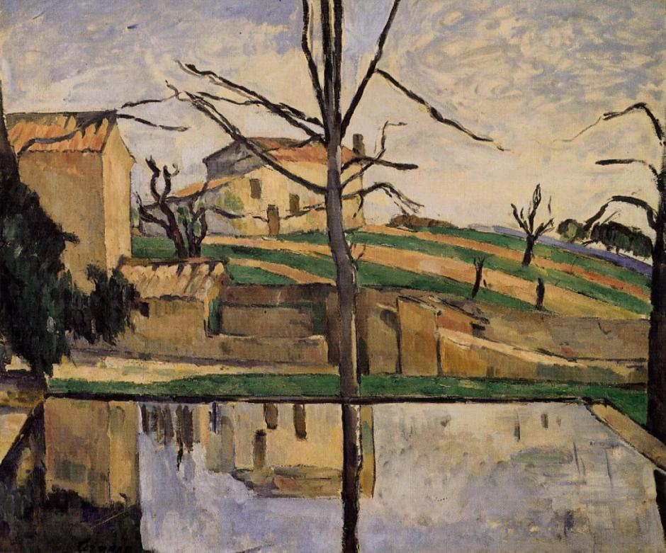 "Paul Cézanne, ""Le Bassin du Jas de Bouffan en Hiver"", 1878 (R350), oil on canvas, 47 x 56.2 cm. private collection. WikiArt."