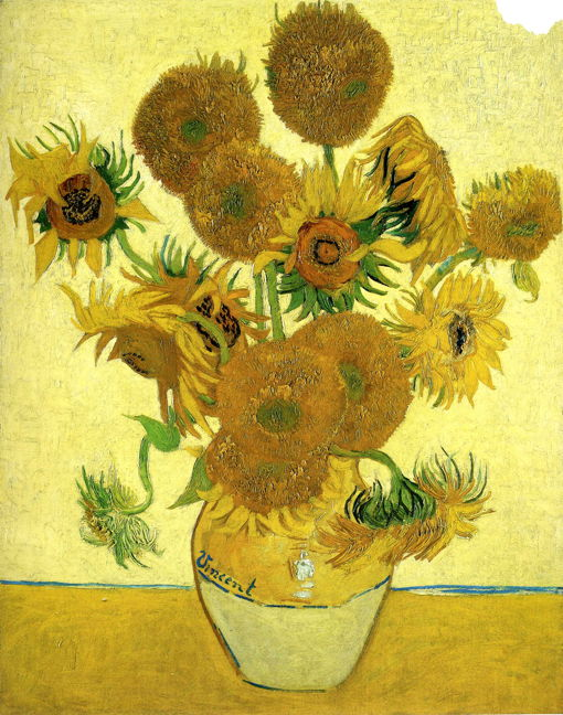 "Vincent van Gogh, ""Still Life, Vase with Fifteen Sunflowers"" (""Sunflowers""), 1888, oil on canvas, 92.1 x 73 cm, The National Gallery, London (WikiArt). Yellows user here are based on chrome yellow, not cadmium."