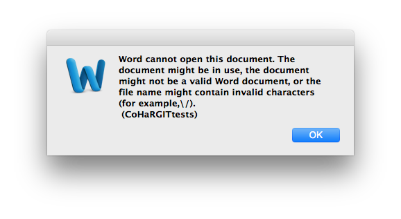 Trying to open an old .doc document can result in spurious error reports.