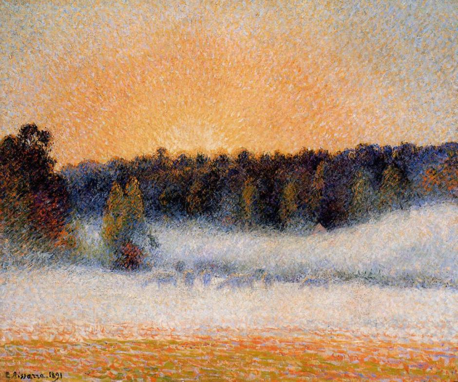 Camille Pissarro, Setting Sun and Fog, Éragny (1891), oil on canvas, 54 x 65 cm, Private collection. WikiArt.