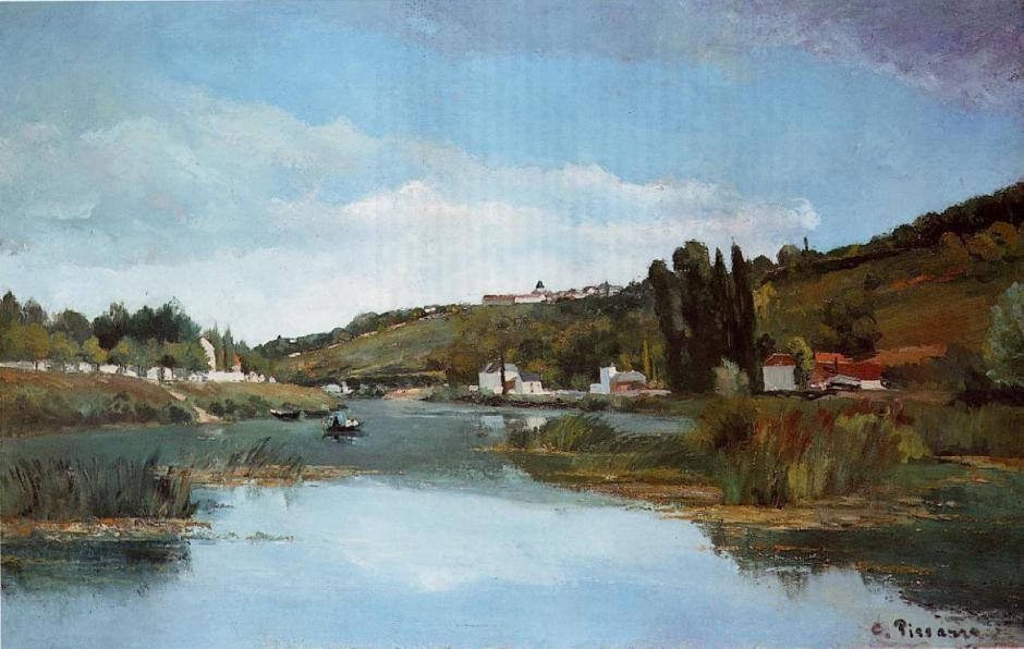 Camille Pissarro, The Marne at Chennevières, (1864-5), oil on canvas, 91.5 x 145.5 cm, The Scottish National Gallery, Edinburgh. WikiArt.