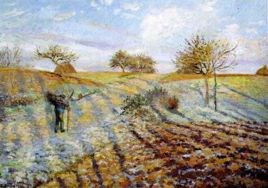 Camille Pissarro, Hoar frost at Ennery (1873), oil on canvas, 65 x 93 cm, Musée d'Orsay, Paris. WikiArt.