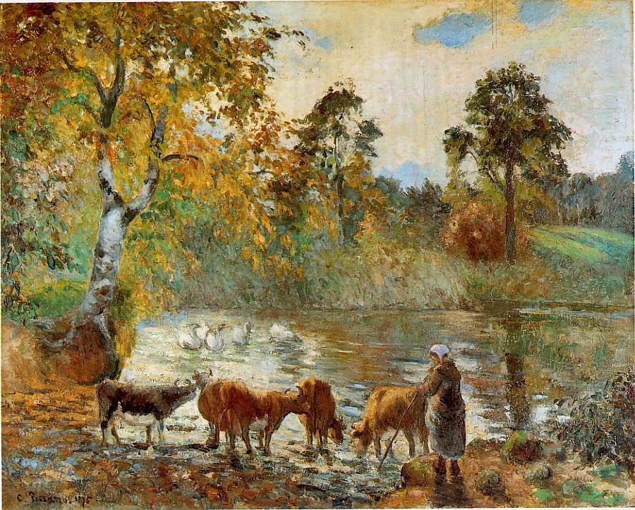 Camille Pissarro, Cows Watering in The Pond at Montfoucault (1875), oil on canvas, 73.6 x 92.7 cm, Barber Institute of Fine Arts, Birmingham. WikiArt.