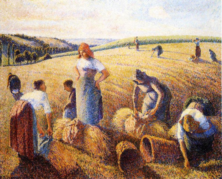 Camille Pissarro, The Gleaners (1889), oil on canvas, 81 x 65.5 cm, Kunstmuseum, Basel. WikiArt.