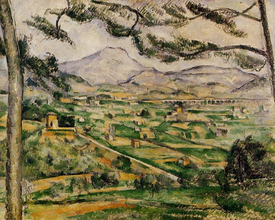 Paul Cézanne, La Montagne Sainte-Victoire au grand pin (1886-7) Rewald no. 598. Oil on canvas, 59.7 x 72.5 cm, Phillips Collection, Washington DC (WikiArt). Framed by the repoussoir pines, the distant mountain shows marked aerial perspective.