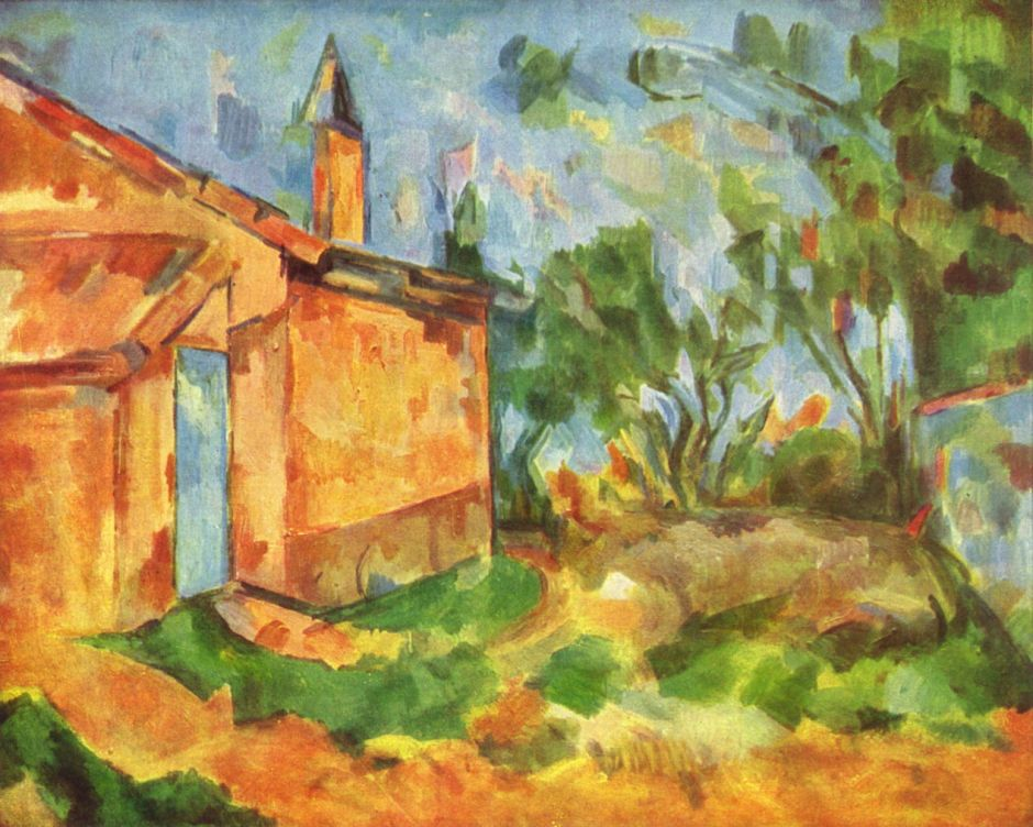 Paul Cézanne, Le Cabanon de Jourdan (1906) Rewald no. 947. Oil on canvas, 65 x 81 cm, Galleria Nazionale d'Arte Moderna, Rome (WikiArt). This, and its very similar watercolour version, displays quite conventional linear perspective, despite being painted close to Cézanne's death.