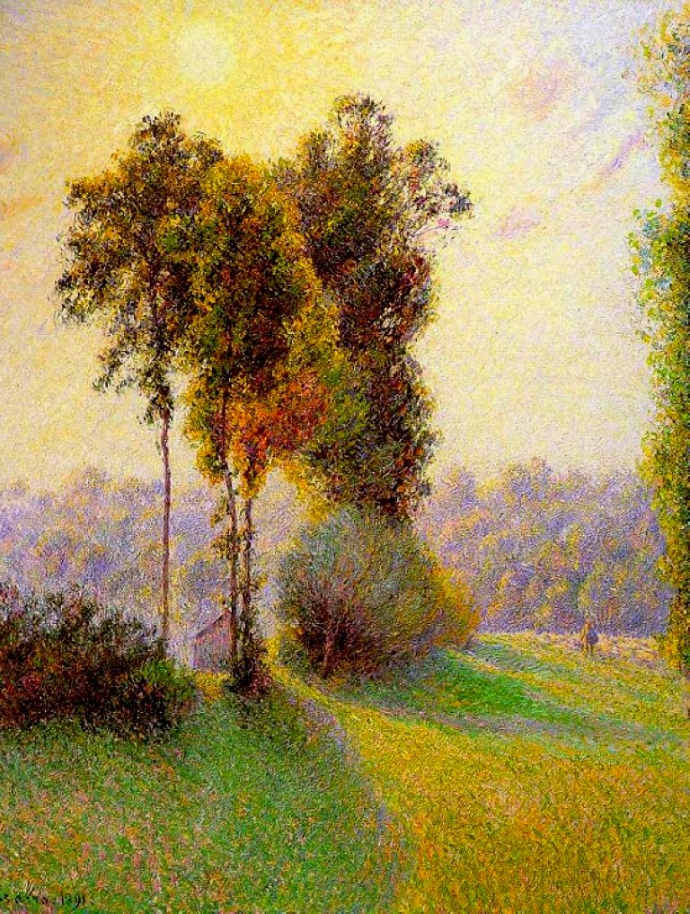 Camille Pissarro, Landscape at Saint-Charles, Sunset (1891), oil on canvas, 81 x 65 cm, Clark Art Institute, Williamstown, MA. WikiArt.