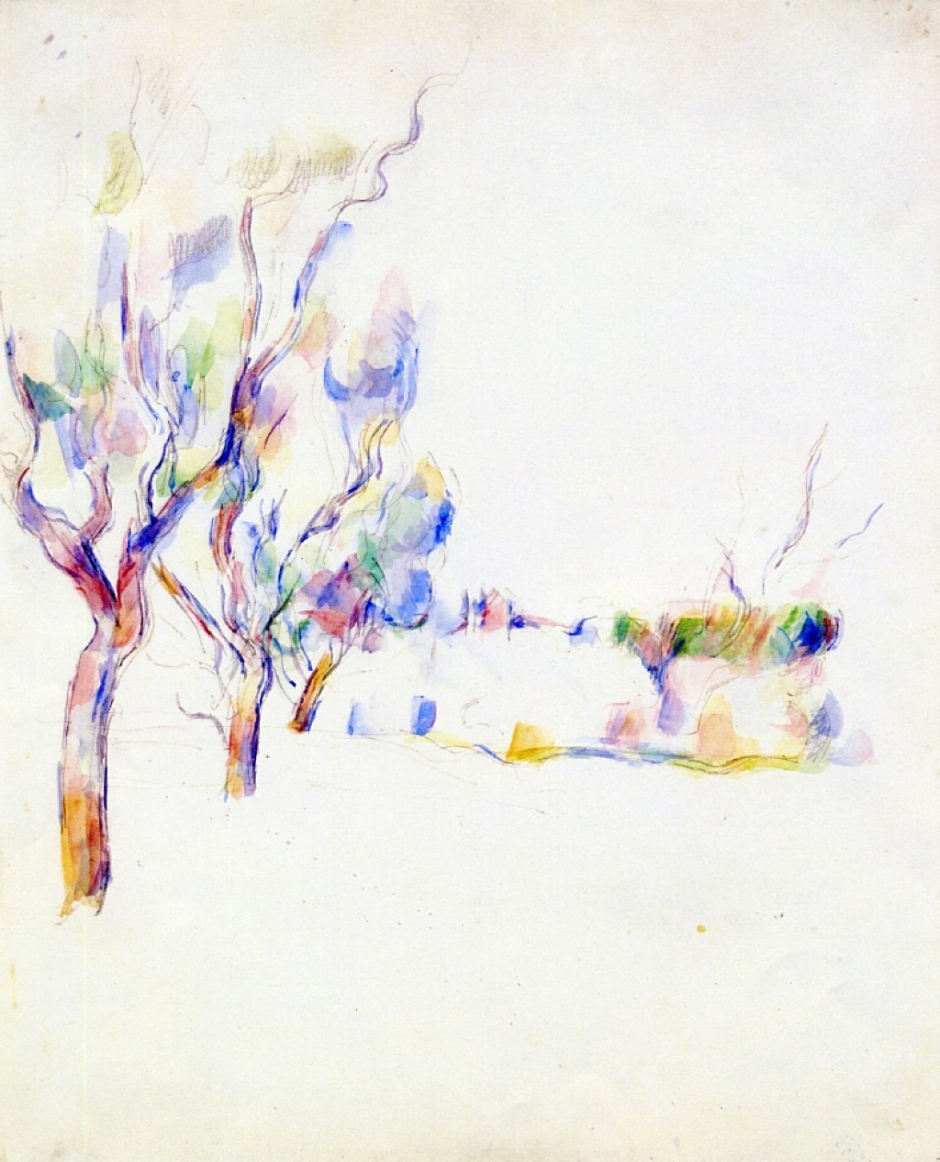 Paul Cézanne, Almond Trees in Provence (1900). Graphite and watercolour on paper, 58.5 x 47.5 cm, private collection (WikiArt). Cézanne turned increasingly to watercolours in his final years, leaving large areas of white 'reserved' space, and applying scattered flares of raw colour.
