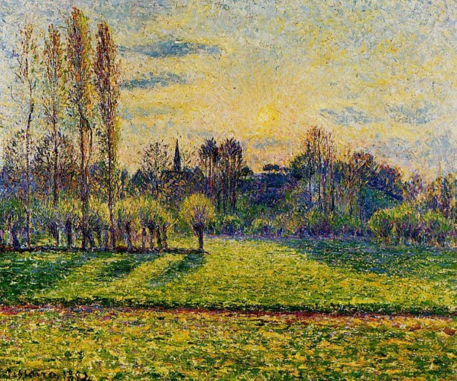 Camille Pissarro, View of Bazincourt, Sunset (1892), oil on canvas, Private collection. WikiArt.
