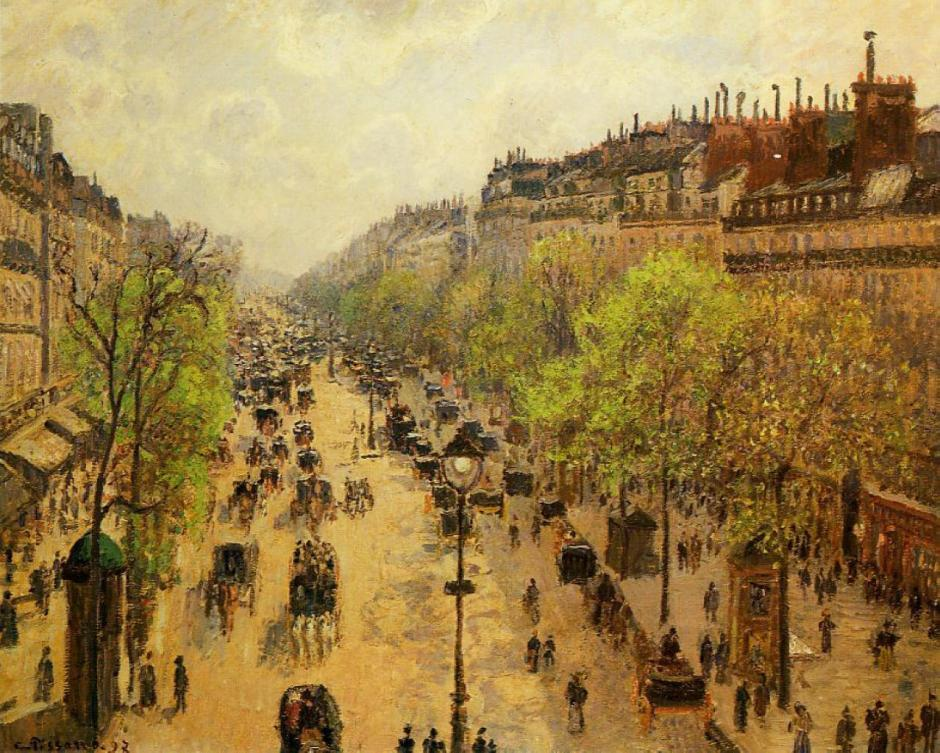 Camille Pissarro, Boulevard Montmartre, Spring (1897), oil on canvas, 65 x 81 cm, Israel Museum, Jerusalem. WikiArt.