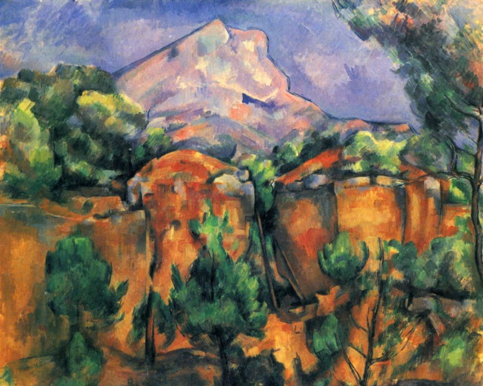 Paul Cézanne, La Montagne Sainte-Victoire vue de Bibémus (1897) Rewald no. 837. Oil on canvas, 65 x 81 cm, The Baltimore Museum of Art (The Cone Collection) (WikiArt). Although the rocks of the quarry in the foreground might appear abstract, they match the forms seen in the motif.