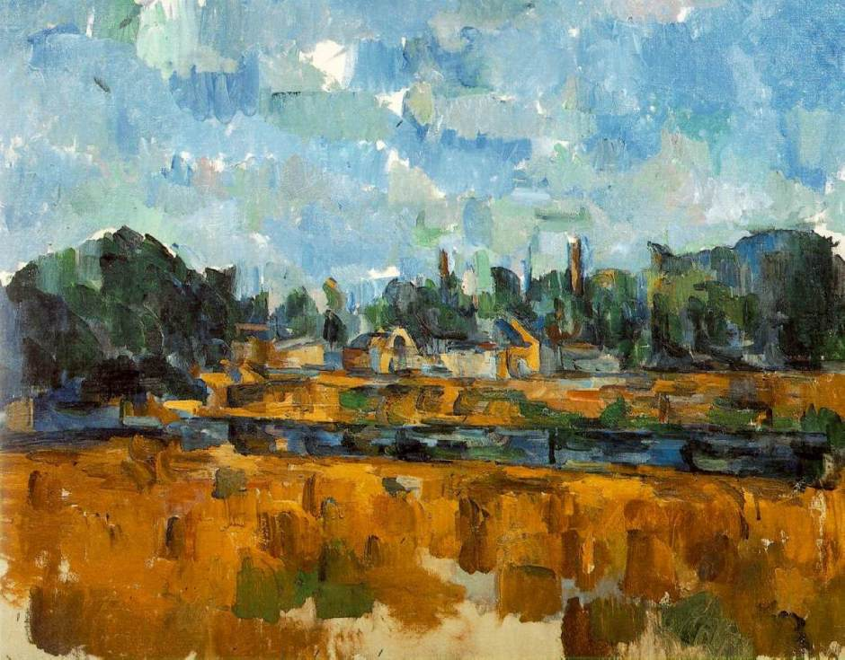 Paul Cézanne, Bords d'une rivière (1904) Rewald no. 925. Oil on canvas, 65 x 81 cm, private collection on deposit at Kunstmuseum, Basel (WikiArt). At first sight quite 'advanced' and abstract, Cézanne's constructive stroke here accommodates many depth cues, and there is even some aerial perspective.