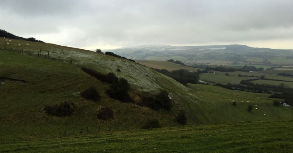 Only a light dusting of snow for now: looking west towards St Catherine's Down, Isle of Wight, 3 Feb 2015.