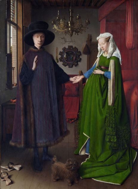 Jan van Eyck, Portrait of Giovanni(?) Arnolfini and his Wife (1434), oil on oak panel, 82.2 x 60 cm. National Gallery, London (WikiArt).