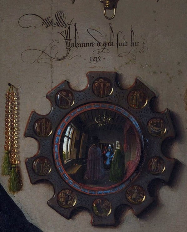 Jan van Eyck, Portrait of Giovanni(?) Arnolfini and his Wife (detail) (1434), oil on oak panel, 82.2 x 60 cm. National Gallery, London (WikiArt).