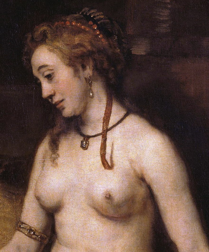Rembrandt Harmenszoon van Rijn, Bathsheba with King David's Letter (detail) (1654), oil on canvas, 142 x 142 cm, Musée du Louvre, Paris. Wikimedia Commons.