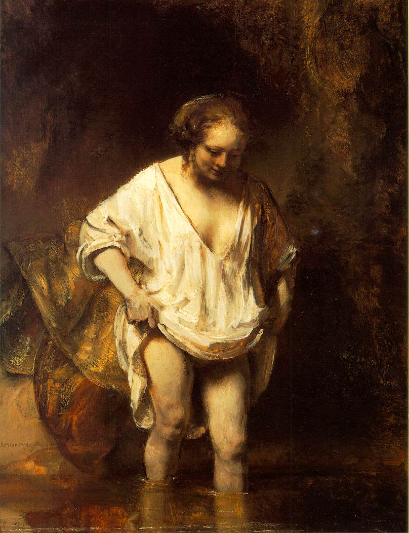 Rembrandt Harmenszoon van Rijn, A Woman bathing in a Stream (1654), oil on panel, 61.8 x 47 cm, National Gallery, London. Wikimedia Commons.