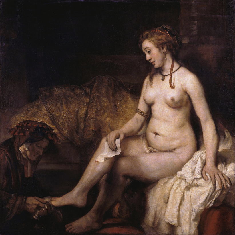 Rembrandt Harmenszoon van Rijn, Bathsheba with King David's Letter (1654), oil on canvas, 142 x 142 cm, Musée du Louvre, Paris. Wikimedia Commons.