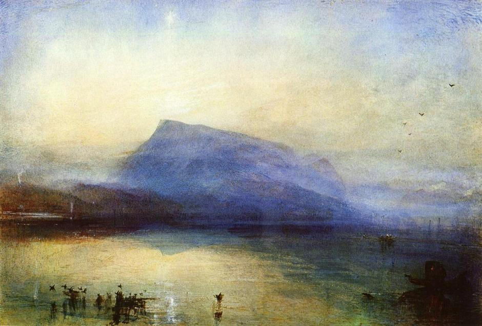 Joseph Mallord William Turner, The Blue Rigi, Sunrise (1842), watercolour on paper, 29.7 x 45 cm, The Tate Gallery, London. WikiArt.
