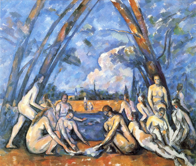 Paul Cézanne, The Large Bathers (1900-6), oil on canvas, 210.5 x 250.8 cm, Philadelphia Museum of Art. WikiArt.