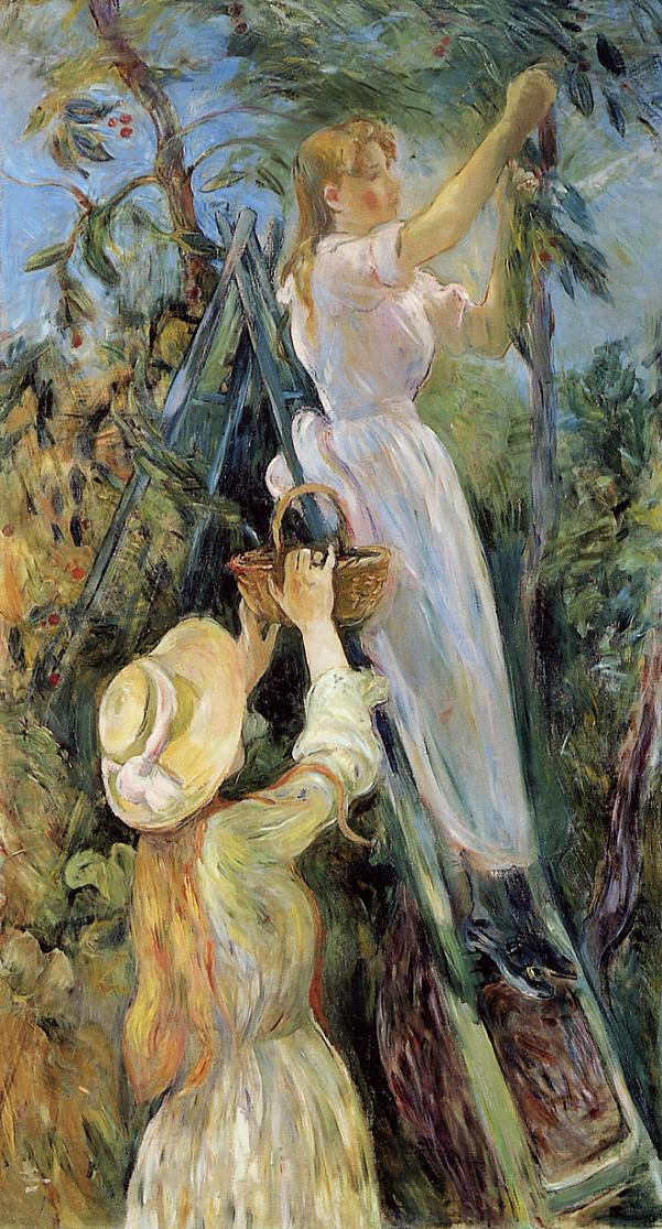 Berthe Morisot, The Cherry Tree (1891), oil on canvas, 154 x 80 cm, Musée Marmottan Monet, Paris. WikiArt.