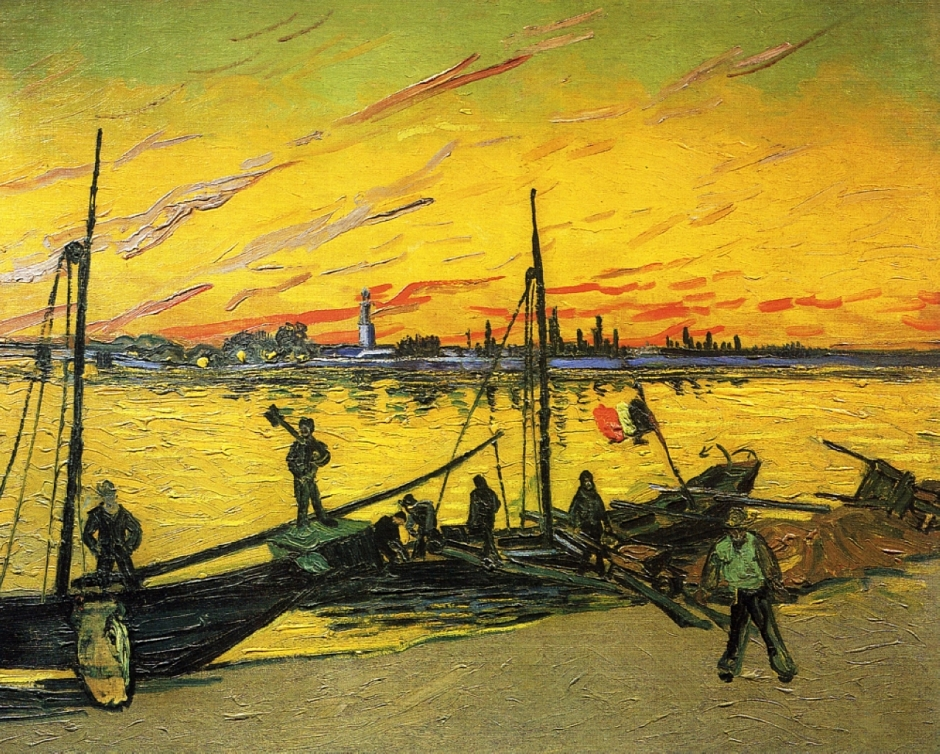 Vincent van Gogh, Coal Barges (1888), oil on canvas, 71 x 95 cm, Private collection. WikiArt.