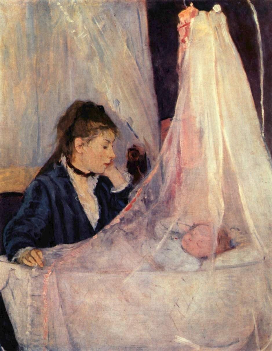 Berthe Morisot, The Cradle (1872), oil on canvas, 56 x 46 cm, Musée d'Orsay, Paris. WikiArt.