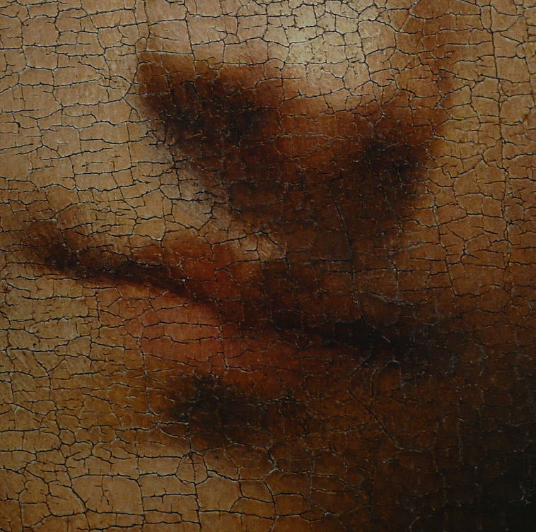 Giorgione, Ragazzo con la freccia, c 1500 (detail), oil on panel, 48 x 42 cm, Kunsthistorisches Museum, Vienna. Wikimedia Commons. Fine cracking (craquelure) like this is common and results from changing dimension in the support.