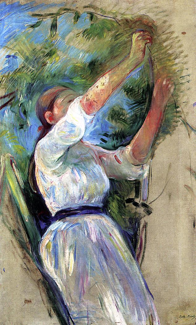 Berthe Morisot, Girl Gathering Cherries (1891), oil on canvas, 85 x 53 cm, Private collection. WikiArt.