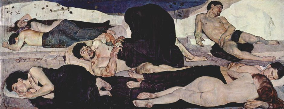 Ferdinand Hodler, The Night (1888-90), oil on canvas, 299 x 116 cm, Kunstmuseum, Bern. WikiArt.