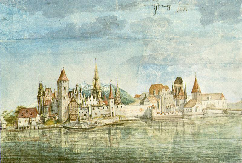 Albrecht Dürer, View of Innsbruck, c 1495, watercolour on paper, 12.7 x 18.7 cm. Albertina, Vienna (WikiArt).