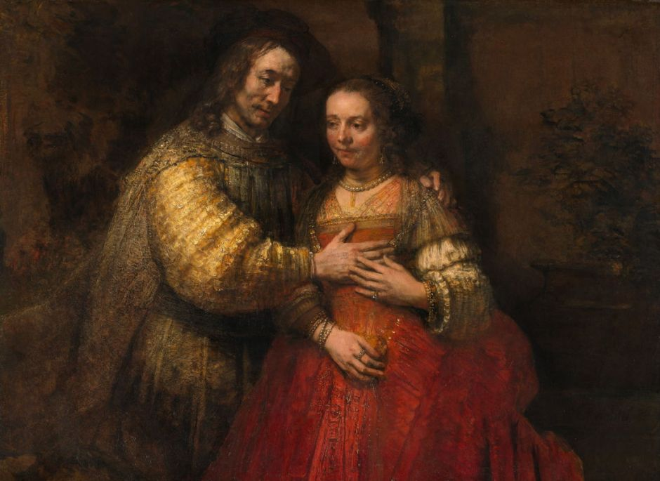 Rembrandt Harmenszoon van Rijn, The Jewish Bride (c 1667), oil on canvas, 121.5 x 166.5 cm, Rijksmuseum, Amsterdam. Wikimedia Commons.
