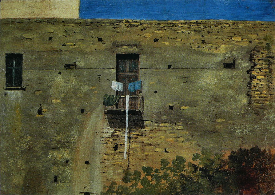 Thomas Jones, A Wall in Naples (c 1782), oil on paper laid on canvas, 11.4 x 16 cm, National Gallery, London. Wikimedia Commons.