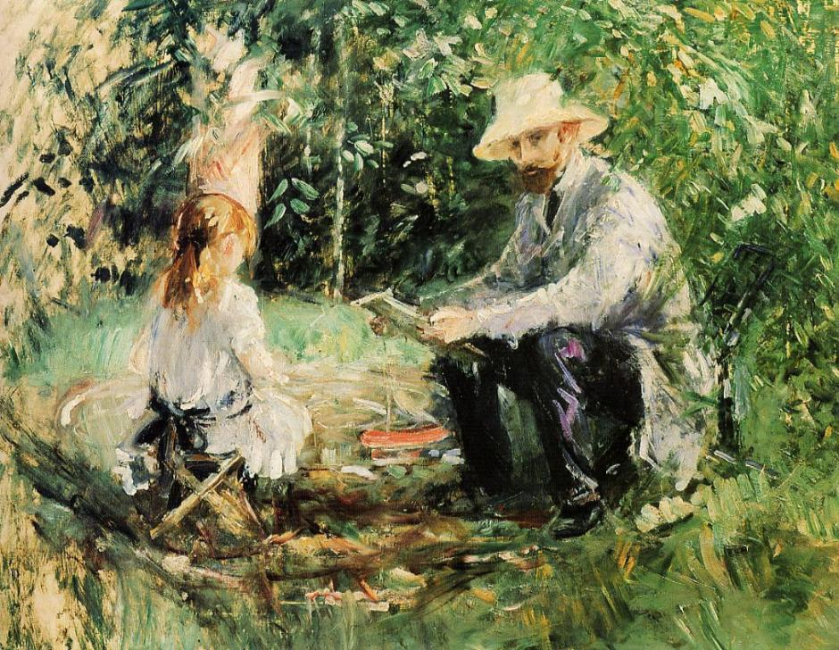 Berthe Morisot, Eugène Manet and his Daughter in the Garden (1883), oil on canvas, 60 x 73 cm, Private collection. WikiArt.