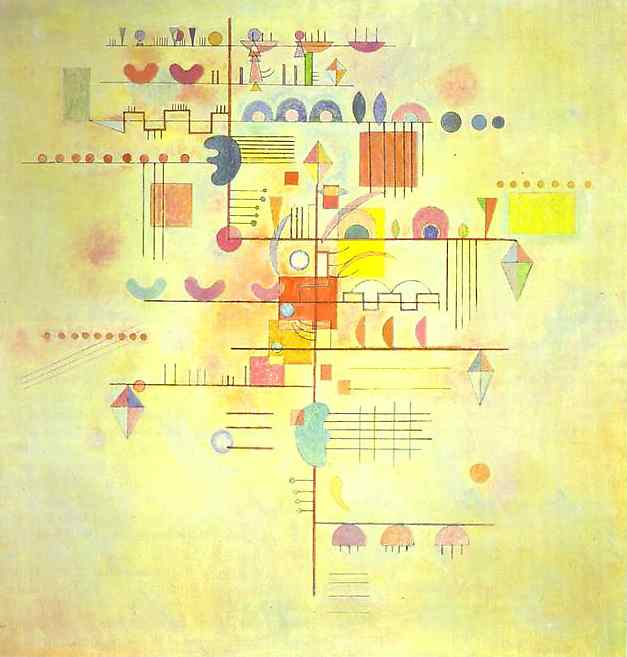 Wassily Kandinsky, Gentle Accent (1934), oil on canvas, 80 x 80 cm, Solomon R Guggenheim Museum, New York. WikiArt.
