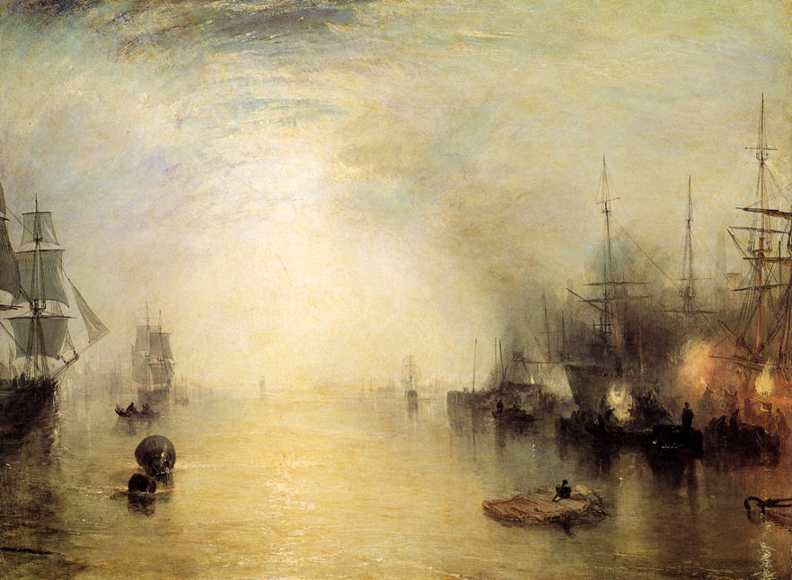 Joseph Mallord William Turner, Keelmen Heaving in Coals by Moonlight (1835), oil on canvas, 92.3 x 122.8 cm, National Gallery of Art, Washington. WikiArt.