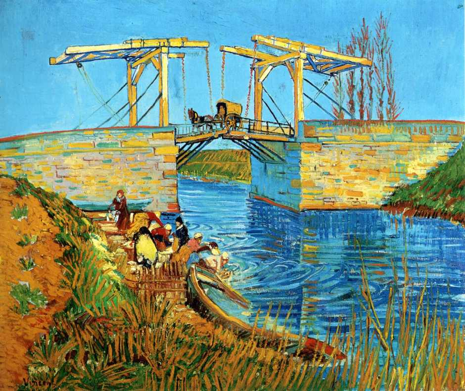 Vincent van Gogh, The Langlois Bridge at Arles with Women Washing (1888), oil on canvas, 54 x 65 cm, Kröller-Müller Museum, Otterlo. WikiArt.