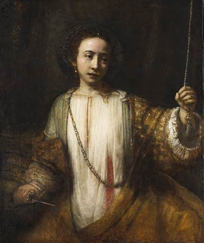 Rembrandt, Lucretia (1666), oil on canvas, 92.3 x 105.1 cm, Minneapolis Institute of Arts. WikiArt.