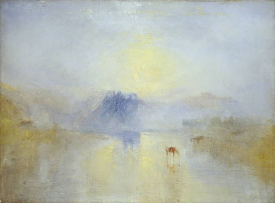 Joseph Mallord William Turner, Norham Castle, Sunrise (c 1845), oil on canvas, 90.8 x 121.9 cm, The Tate Gallery, London. WikiArt.