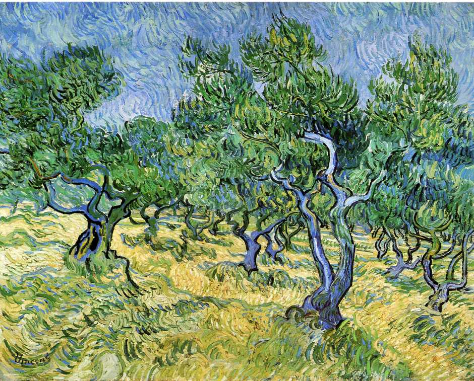 Vincent van Gogh, Olive Grove (1889), oil on canvas, 72 x 92 cm, Kröller-Müller Museum, Otterlo. WikiArt.