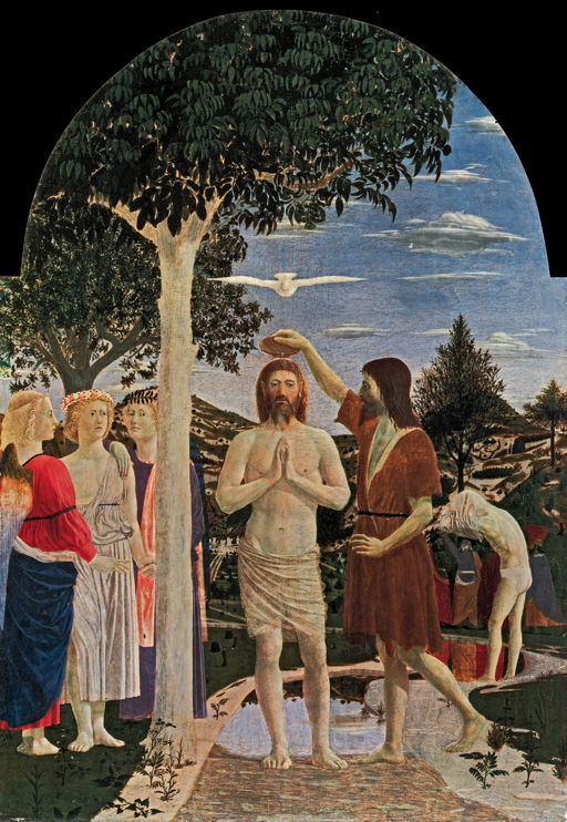 Piero della Francesca, The Baptism of Christ (1450s), egg tempera on panel, 168 x 116 cm, The National Gallery, London. WikiArt.