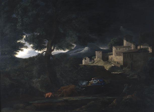 Nicolas Poussin, Landscape with a Storm (c 1651), oil on canvas, 99 x 132 cm, Musée de beaux-arts, Rouen. Wikimedia Commons.