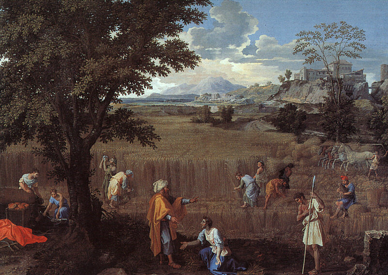 Nicolas Poussin, Summer, or Ruth and Boaz (1660-4), oil on canvas, 118 x 160 cm, Musée du Louvre, Paris. WikiArt.
