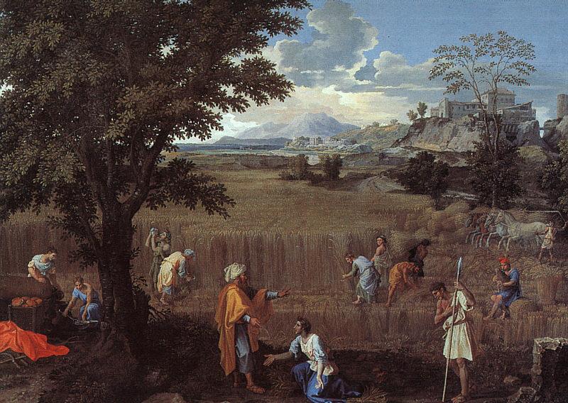 Nicolas Poussin, Summer, or Ruth and Boaz (1660-4), oil on canvas, 118 x 160 cm, Musée du Louvre, Paris. WikiArt.